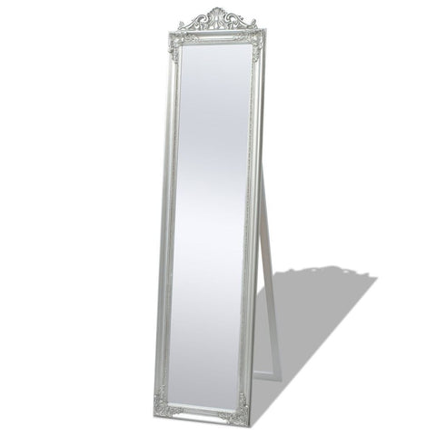 Silver Free-Standing Baroque Styled Mirror 160x40 cm