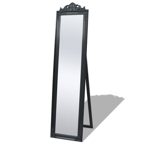 Free-Standing Black Baroque Style Mirror - 160 x 40 cm