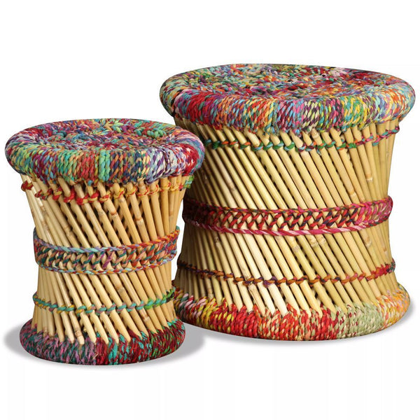 Set of 2 Stools - Bamboo with Chindi Details