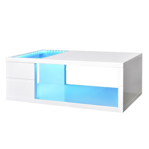 High Gloss White Coffee Table with LED Lights