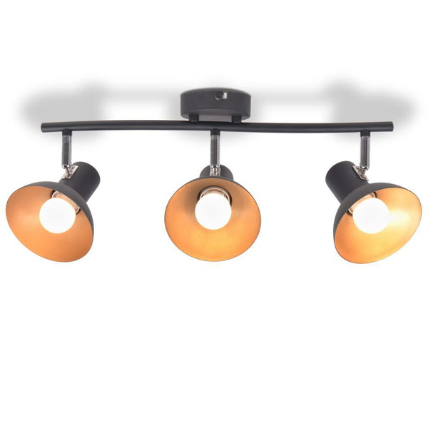 Black and Gold Ceiling Lamp - 3 Bulbs