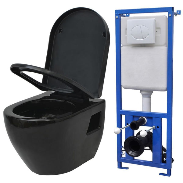 Wall Hung Toilet with Cistern Ceramic Black