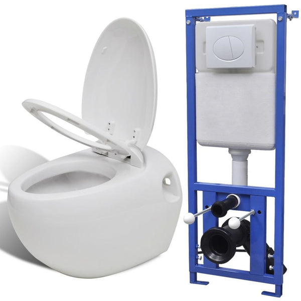 Wall Hung Toilet Egg Design with Concealed Cistern White