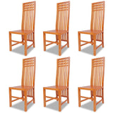 Set of 6 Solid Teak Dining Chairs