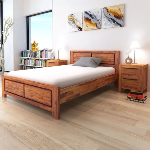 Solid Wood Bed Frame with Cabinets