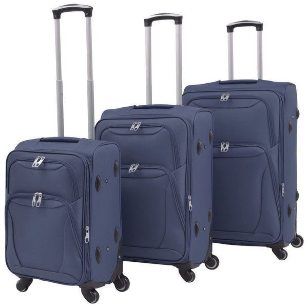 Navy Blue 3 Piece Soft Case Trolley Set