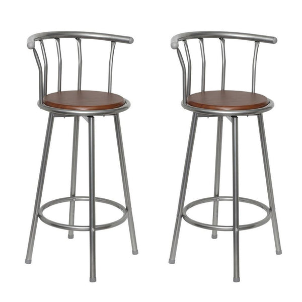 Set of 2 Brown Steel Bar Stools