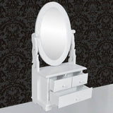 Vanity Makeup Table With Oval Swing Mirror
