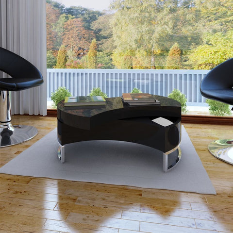 Adjustable High Gloss Black Table Shape