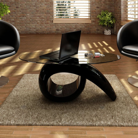 Black High Gloss Glass Coffee Table