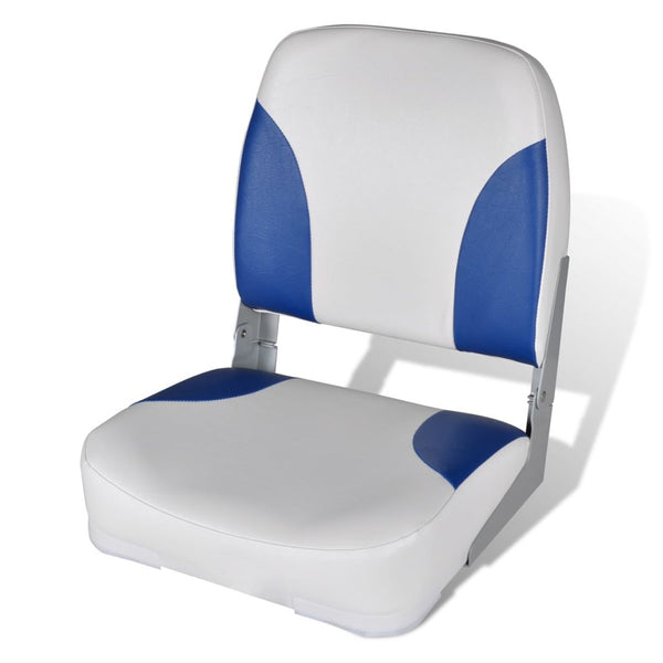 Boat Seat Foldable Backrest With Blue-white Pillow 41 x 36 x 48 cm
