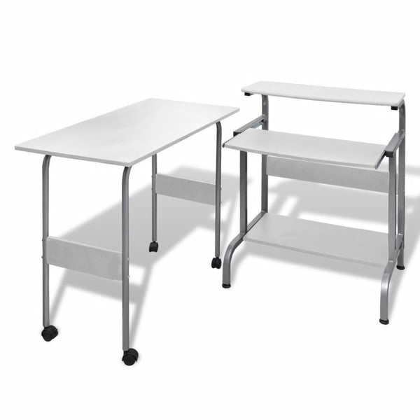 White Adjustable Computer Desk / Workstation