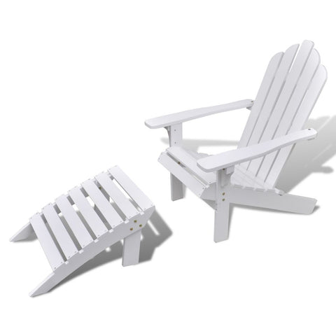 White Wooden Chair with Ottoman/Stool