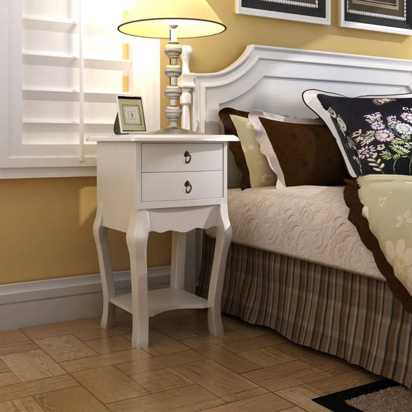 White 2 Drawers Bedside Cabinet