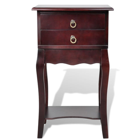 2 Drawers Brown Bedside Cabinet