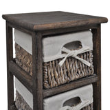 Brown Wooden Storage Rack - 4 Weaving Baskets