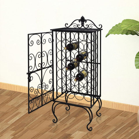 Metal Wine Rack Cabinet - 28 Bottles