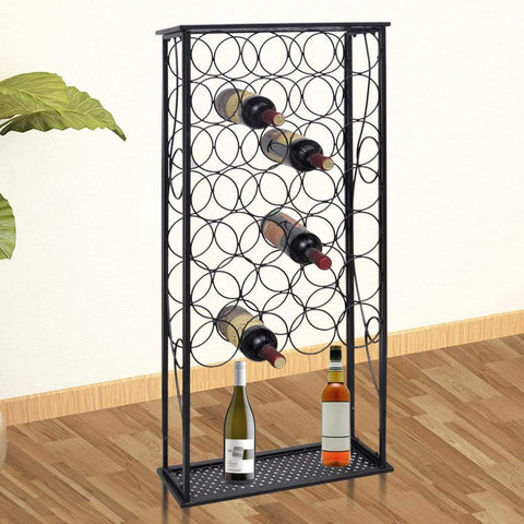 Metal Wine Rack Wine Stand - 28 Bottles