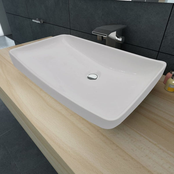 Luxury Ceramic Basin Rectangular Sink White 71 x 39 cm