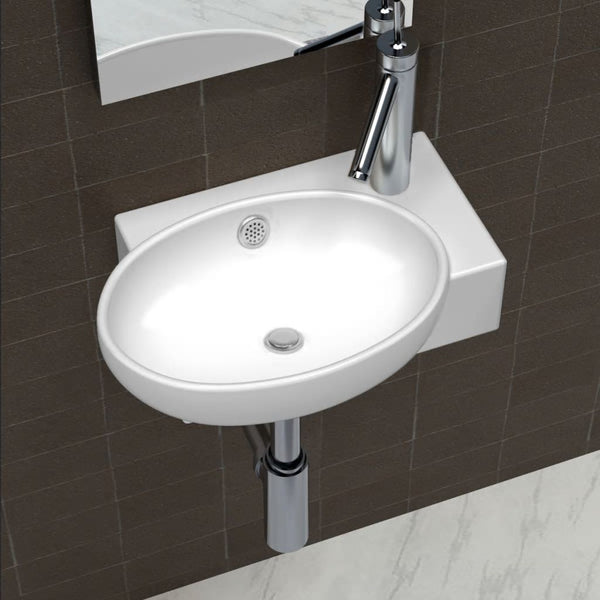 Ceramic Sink Basin Faucet & Overflow Hole Bathroom White