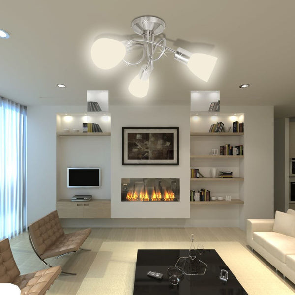 Ceiling Lamp with Glass Shades for 3 Bulbs