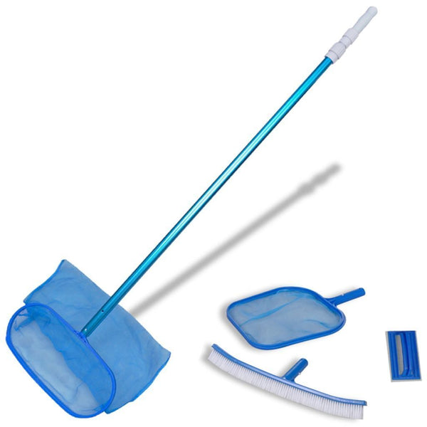 Pool Cleaning Set Brush - 2 Leaf Skimmers & 1 Telescopic Pole