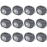 Set of 12 Outdoor Solar Powered LED Stone Shaped Spotlights
