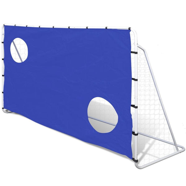 Steel Football Goal with Aiming Holes - 240 x 92 x 150 cm