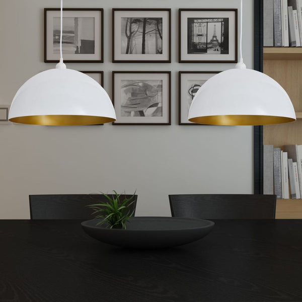 Set of 2 Semi-spherical White Ceiling Lights
