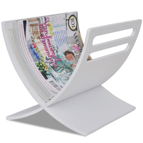 White Wooden Magazine Rack