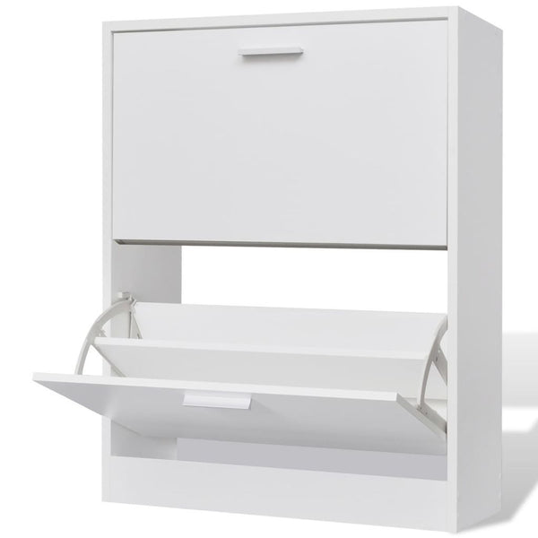 White Wooden Shoe Cabinet - 2 Compartments