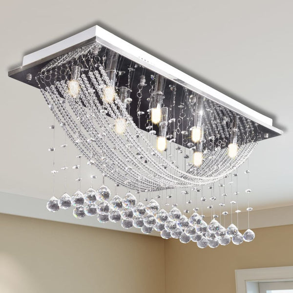 White Ceiling Lamp with Glittering Glass Crystal Beads