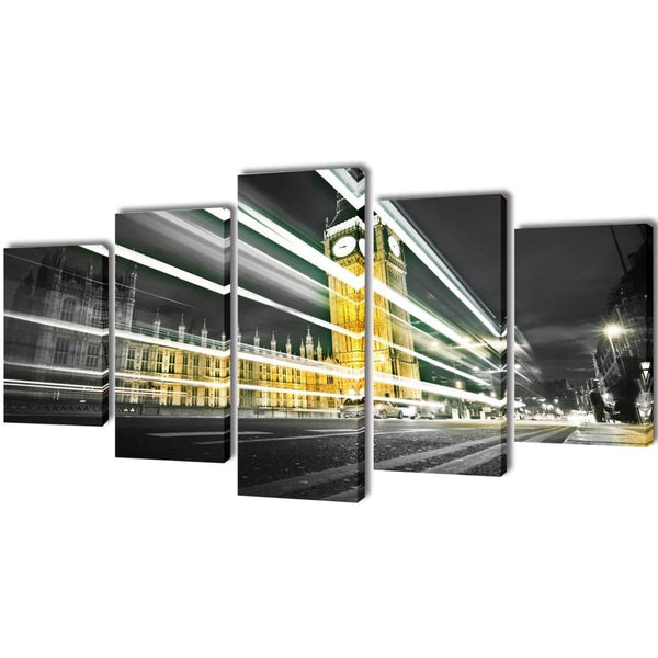 London Big Ben Canvas Wall Print Set - 100 x 50 cm