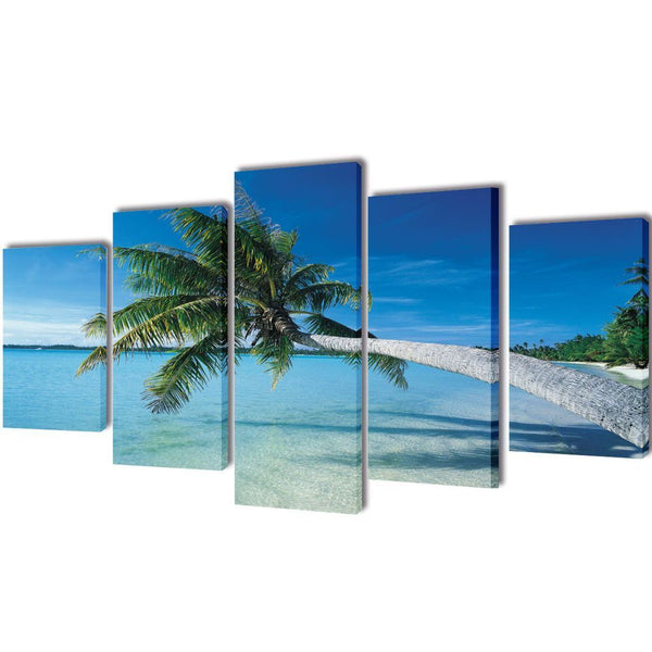 Sand Beach with Palm Tree Canvas Wall Print Set - 200 x 100 cm