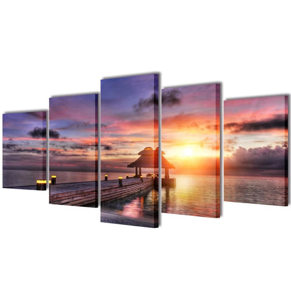 Beach with Pavilion Wall Print Set - 200 x 100 cm