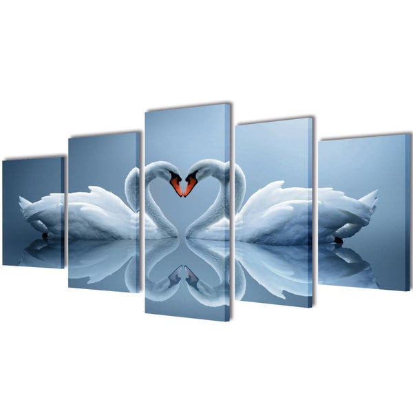 Swan Canvas Wall Print Set - 200 x 100 cm