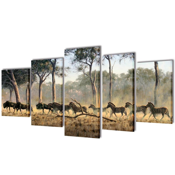 Zebras Canvas Wall Print Set - 100 x 50 cm