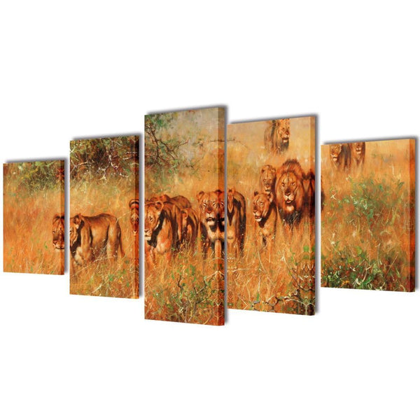 Lions Canvas Wall Print Set - 100 x 50 cm