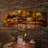 Whiskey and Cigar Canvas Wall Print Set - 200 x 100 cm