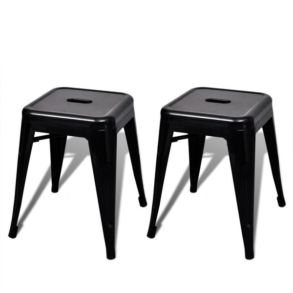 Set of 2 Black Stackable Metal Stools