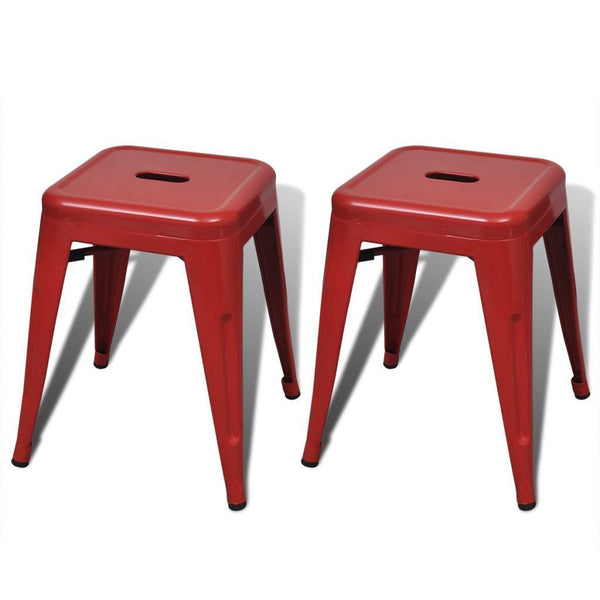 Set of 2 Stackable Metal Red Stools