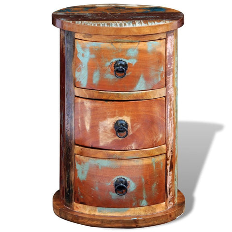 Reclaimed Solid Wood Round Bedside Table