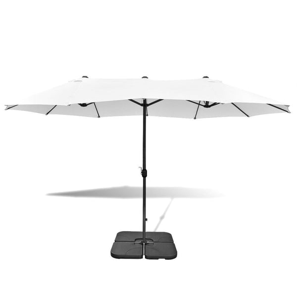 White Aluminium Umbrella with Portable Base - 2.7 x 4.6 m