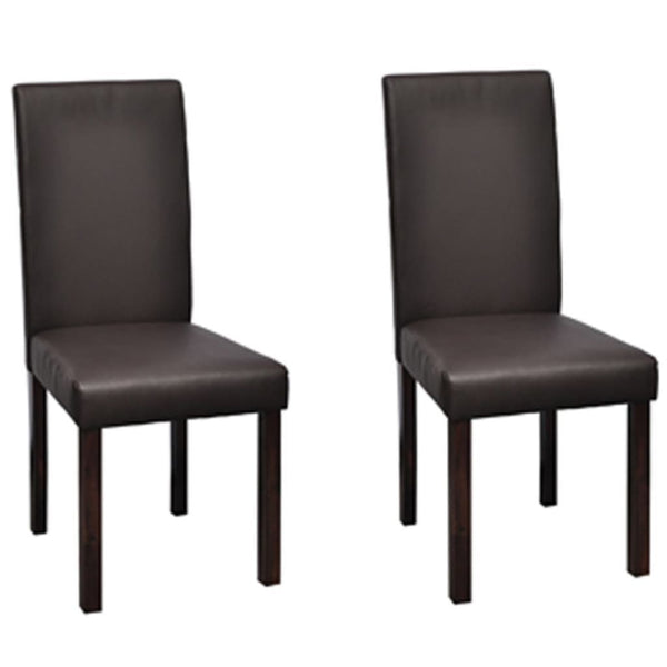 Set of 2 Leather Wooden Brown Dining Chairs