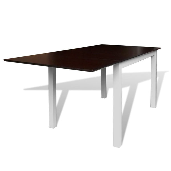Solid Wood Brown & White Extending Dining Table - 150 cm