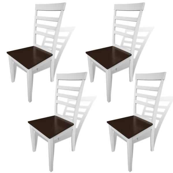 Set of 4 Solid Wooden Brown & White Dining Chairs