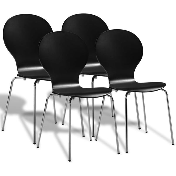 Set of 4 Black Stackable Dining Chairs