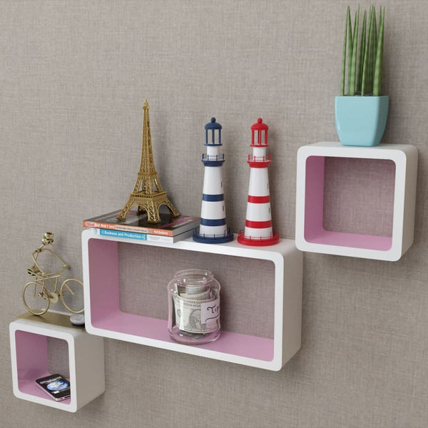 3 White & Pink Floating Wall Display Shelves