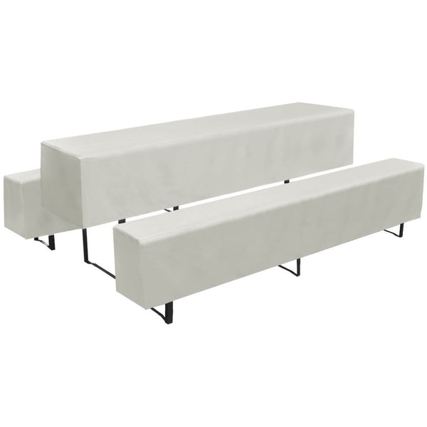 3 Slipcovers for Beer Table and Benches Cream 225 x 50 x 35 cm