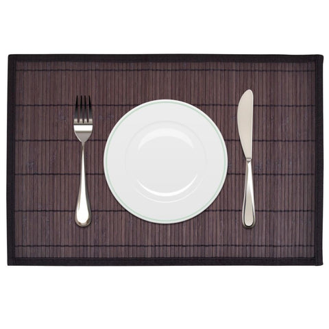 6 Dark Brown Bamboo Placemats